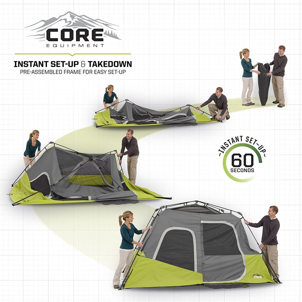CORE 6 Person Instant Cabin Tent Set Up Preview