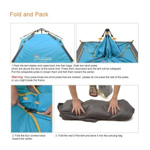Mountaintop Waterproof 3 Season Tent Fold And Pack