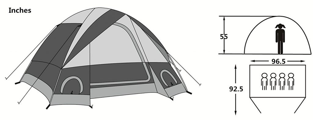 SEMOO 4-Person Family Dome Tent Size